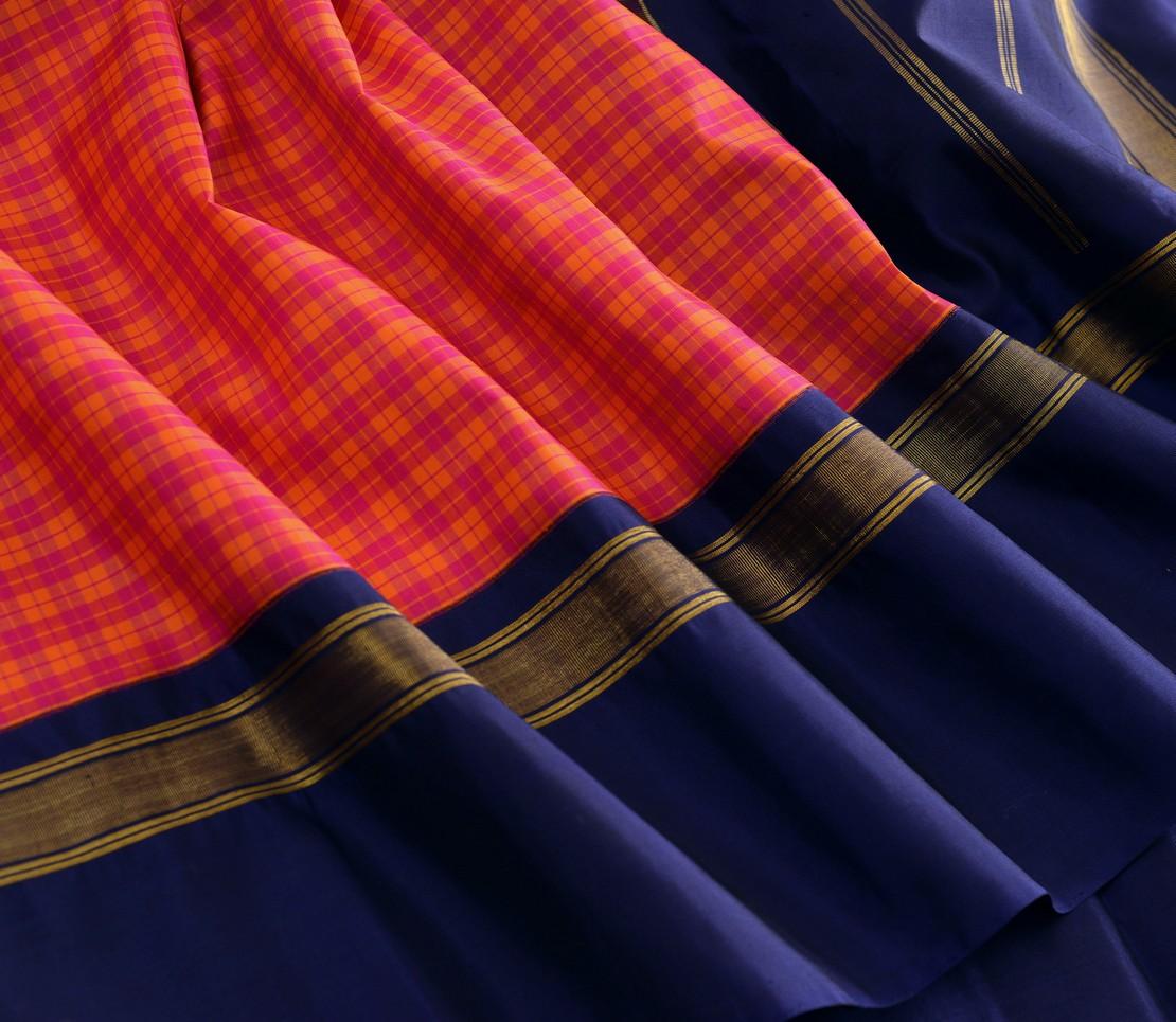 Elegant Kanjivaram silk kattam korvai weavemaya Bangalore India Maya pink orange 4502143 4