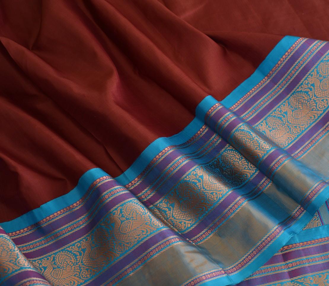 Elegant Kanjivaram silk korvai threadwork weavemaya Bangalore India Maya brown 4502134 4
