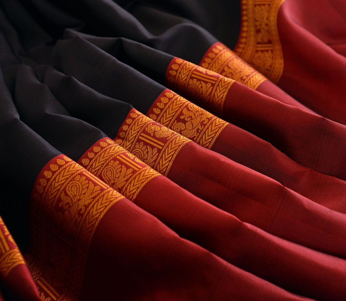 Elegant Kanjivaram silk tall border threadwork weavemaya Bangalore India Maya black 4502120 5