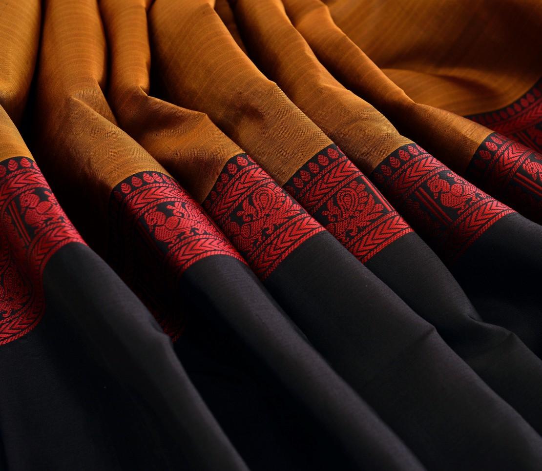 Elegant Kanjivaram silk tall border threadwork weavemaya Bangalore India Maya honey 4502122 5