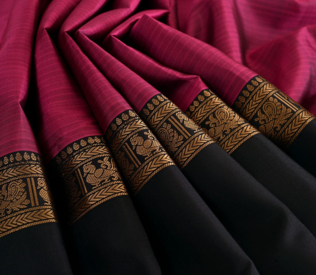 Elegant Kanjivaram silk tall border threadwork weavemaya Bangalore India Maya purple 4502119 5