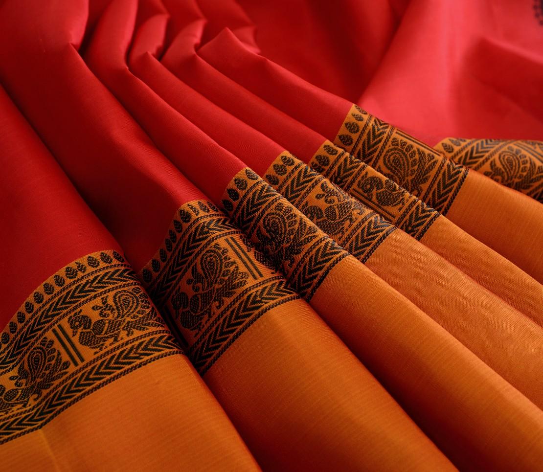Elegant Kanjivaram silk tall border threadwork weavemaya Bangalore India Maya scarlet red 4502121 5