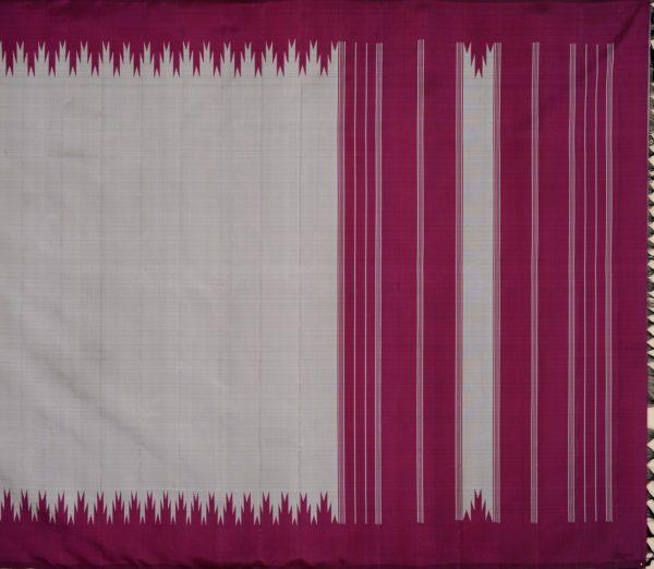 Elegant Kanjivaram thazampoo border weavemaya Bangalore India Maya grey KU082103 1
