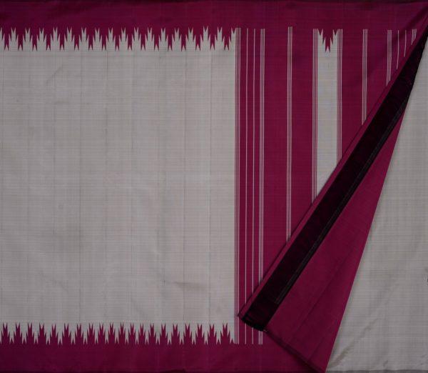 Elegant Kanjivaram thazampoo border weavemaya Bangalore India Maya grey KU082103 2