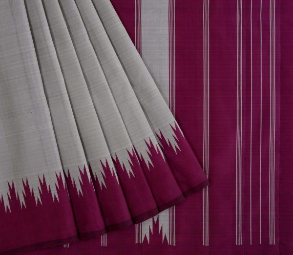 Elegant Kanjivaram thazampoo border weavemaya Bangalore India Maya grey KU082103 3