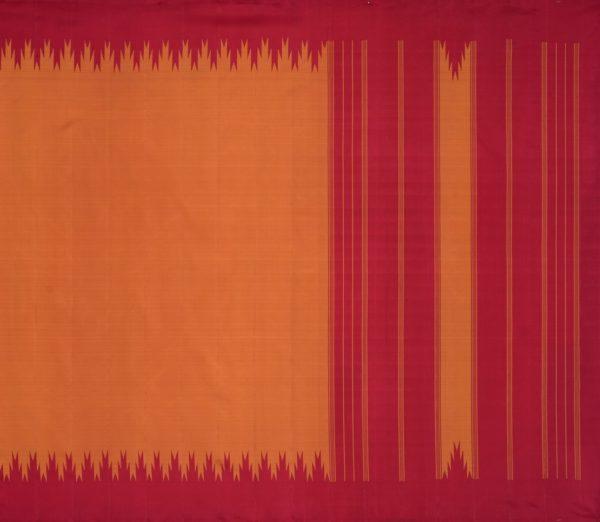 Elegant Kanjivaram thazampoo border weavemaya Bangalore India Maya rust orange KU082101 1
