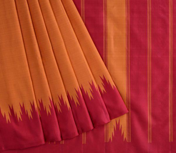 Elegant Kanjivaram thazampoo border weavemaya Bangalore India Maya rust orange KU082101 3