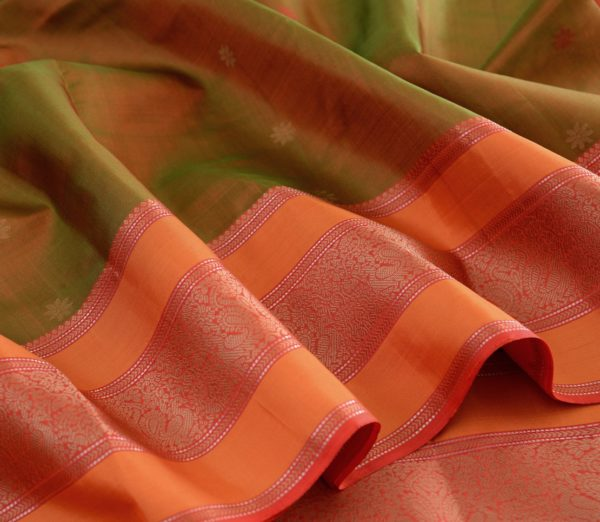 Elegant Kanjivaram threadwork butta weavemaya Bangalore India Maya mehendi green 4502107 4