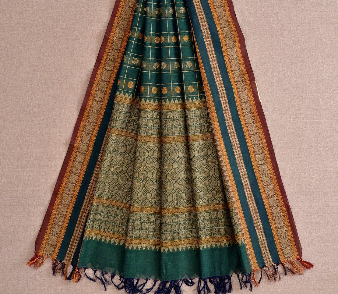 Stylish Kanchi cotton dupatta butta threadwork weavemaya Bangalore India Maya bottle green 10162118 2