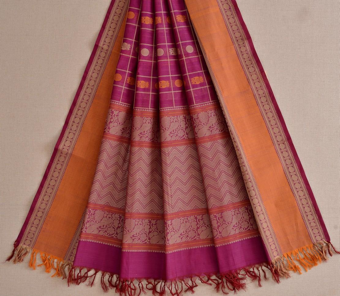 Stylish Kanchi cotton dupatta butta threadwork weavemaya Bangalore India Maya dark pink 10162112 2