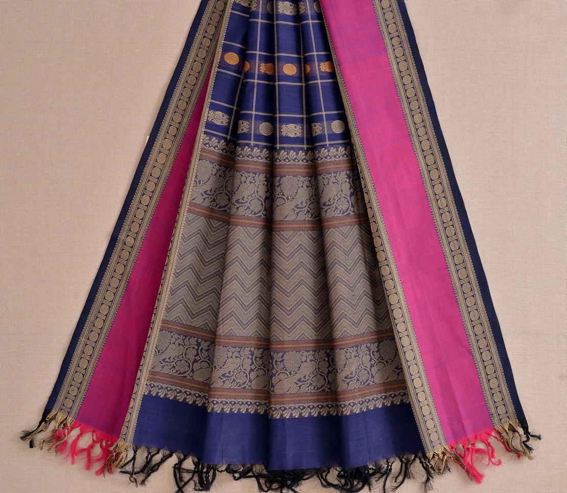 Stylish Kanchi cotton dupatta butta threadwork weavemaya Bangalore India Maya navy blue 10162113 2