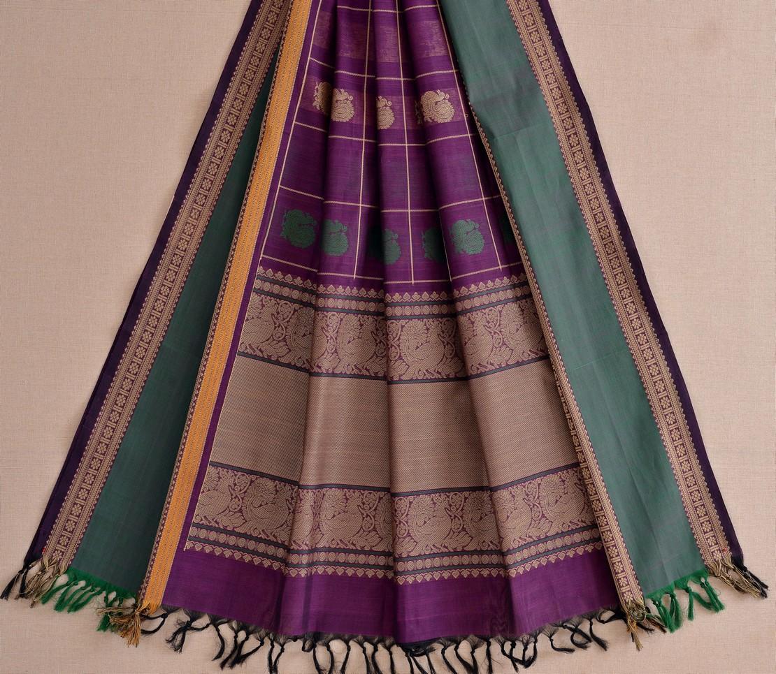Stylish Kanchi cotton dupatta butta threadwork weavemaya Bangalore India Maya purple 10162109 2