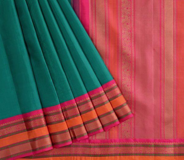Traditional korvai border Kanjivaram silk saree weavemaya Bangalore India Maya Ramar green 4502141 3