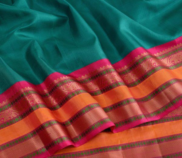 Traditional korvai border Kanjivaram silk saree weavemaya Bangalore India Maya Ramar green 4502141 4